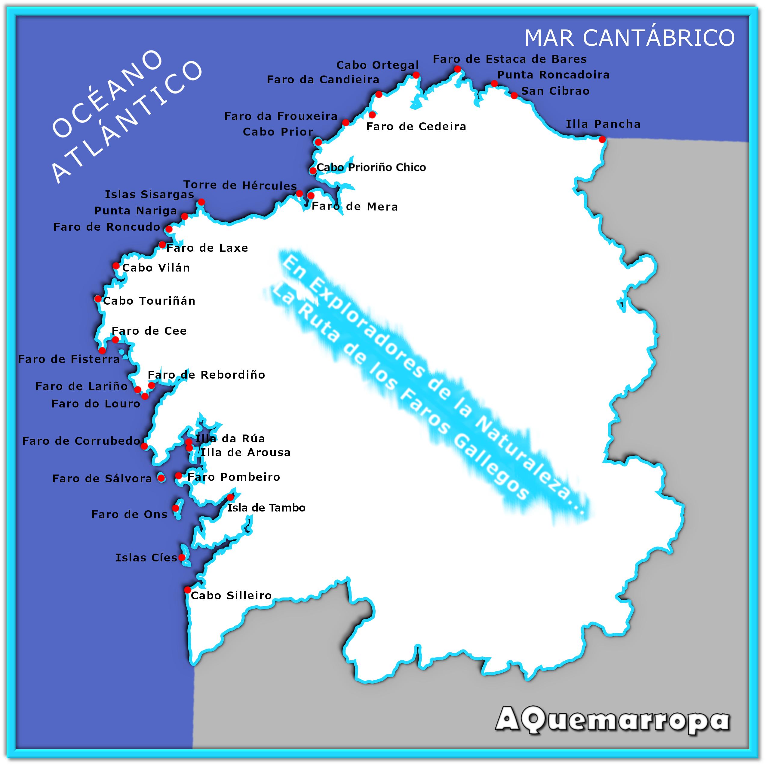 Mapa De Galicia Costa.La Ruta De Los Faros Gallegos